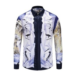 Sh Fashion UK - 2019-Spring, Summer and Autumn Fashion Men's New Luxury Boutique Shirt, Long Sleeve Lapel Luxury Shirt, Men's Cotton 3D Embroidered Print Sh
