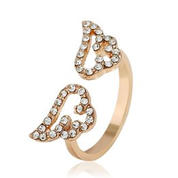 $enCountryForm.capitalKeyWord Australia - New Fashion Angel Wing Opening Ring With Rhinestones Cute Girls Middle Rings 3 Colors Micro Zircons Women Jewelry Gift Lady Accessory