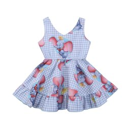 Discount pretty outfits - Pudcoco 2019 Summer Pretty Kids Baby Girls Animal Plaid Sleeveless Dress Elephant Outfits Clothes Cute Summer 1-6Y SS