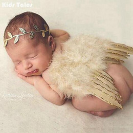 Discount angel wing baby clothes - Fashion Newborns Costume Baby Golden Angel Wings And Flower Headband Photo Photography Prop Outfits Newborn Unisex Cloth