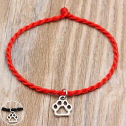 love strings NZ - 50pcs Lucky Paw Print charms Handmade Red String Cord Lucky Bracelets Pulseras Bangle For Women Men Bracelet Fashion Jewelry