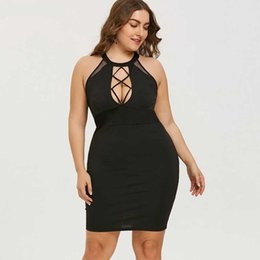 sexy clothing cut outs Australia - Wipalo Plus Size Mini Cut Out Sexy Club Party Dress Women Black O Neck Sleeveless Bodycon Clothes Vestido Summer Dress 5xl Y19071101
