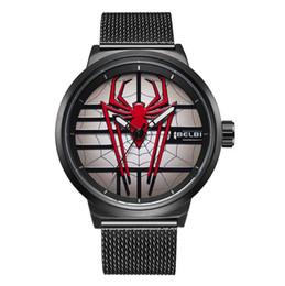 China BELBI Brand Fashion 3D Spider Men's Wrist Watches Stainless Steel Band Quartz Business Watch Waterproof Male Clock New Fashion Wristwatches cheap purple clocks suppliers