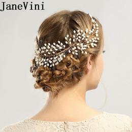 $enCountryForm.capitalKeyWord Australia - JaneVini Gold Pearl Bridal Hair Comb Jewelry Boho European Bride Headbands Women Wedding Hair Accessories Bridal Headgear Combs