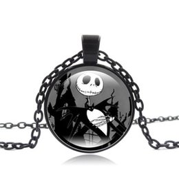 Wholesale Jack and Sally Christmas Night Cryular Round Glass Alloy Pendant Necklace Foreign Trade Hot Sweater Chain