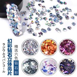 $enCountryForm.capitalKeyWord Australia - 6Box Set Shiny Laser AB Nail Glitter Sequins 3D Triangle Diamond Rhombus Paillette Chameleon Flakes Manicure Nail Art Decoration