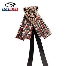 Discount uniforms for girls - Vintage Lepord Bow Tie Women Neck Tie For Women Uniform Pin Necktie Party Gravatas Fashion Plaid Bowties Gifts Ladies Gi