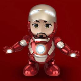 Iron Man Avengers Figure Australia - Dance Iron Man Action Figure Toy robot LED Flashlight with Sound Avengers Iron Man Hero Electronic Toy kids toys 500piece