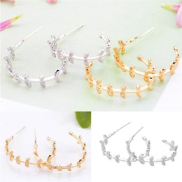 Copper hoop earrings small online shopping - 5 Pair Fashion Small Leaves Hoop Earrings For Women Sliver Gold Color Geometry Super Flash Rhinestone Jewelry