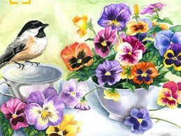 Green Money Box Australia - 40x50cm Flowers pictures with birds Coloring by numbers hand-painted canvas paintings on the wall decorations of acrylic paint gift