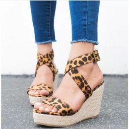 Leopard Sandals Australia - Fashion2019 Will 35-42 Women's Shoes Hemp Rope Weave Leopard Print Slope With Sandals