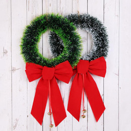 white christmas decor NZ - Christmas Wreath Christmas Green Wreath Decorative Garland With A Red Bowknot For Party Home Decor