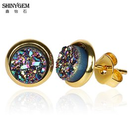 tiny gold studs Australia - ShinyGem 6mm Round Small Druzy Earrings Gold Plating Natural Stone Stud Earrings Tiny Elegant Mineral Crystal Earrings For Women