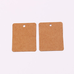 clothing hang tags NZ - Wholesales 200pcs lot 3x4CM Brown Cardboard Blank Paper Clothing Price Tags Jewelry Gift Hang Tags Card Square Label Cards