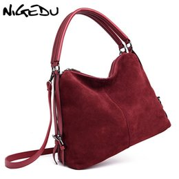 Design Suede Leather Bag Australia - NIGEDU Suede Women Handbags large Winter new women bag brand luxury design Shoulder Bag patchwork leather crossbody bags Totes #187325