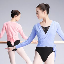 Wholesale ladies wrap blouses resale online - Autumn Winter V Neck High Waist Blouse Girls Ladies Long sleeve Dance Tops Women Adult Ballet Wrap Sweater