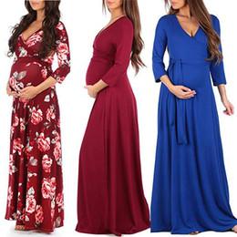 Женщины цветочные материнства платье 14 цветов с длинным рукавом материнства беременных одежда бутик женщин платья твердые кружева V-образным вырезом женские платья 060408 на Распродаже