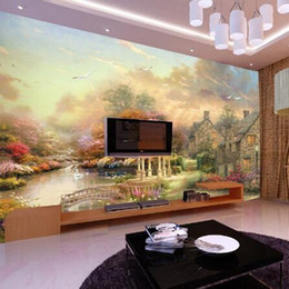 high quality scenery painting Australia - large European wallpaper Nordic painting style town scenery village tree landscape mural high quality mural wall paper