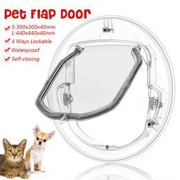 $enCountryForm.capitalKeyWord Australia - Small Large Pets Safe Door Round Clear Cat Flap Door Products Fits for Screen Window Glass Window Lockable Pet Products