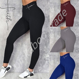 Wholesale skinny girls resale online - Women s High Waist Yoga Pants Sports Gym Leggings Fashion Letters Tight Fitting Ladies Sweatpants Elastic Skinny Tights Trousers LY318