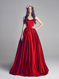 $enCountryForm.capitalKeyWord Australia - Pageant Evening Dresses Sweetheart Lace-up Women's Red Satin Ball Gown Bridal Custom Special Occasion Prom Bridesmaid Party Birthday