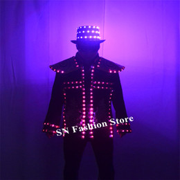 $enCountryForm.capitalKeyWord NZ - P28 Party dance wears RGB colorful clothe full color luminous coat dj glowing hat led costumes disco dj show outfits robot suit party wears