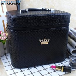 crown cosmetic bag Australia - Women noble Crown big Capacity Professional Makeup Case Organizer High Quality Cosmetic Bag Portable Brush Storage box Suitcase SH190918