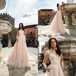 Lavender Blush Wedding Dress Australia - 2019 Crystal Design Boho Wedding Dresses Bateau Neck A Line Applique Bohemian Blush Pink Wedding Dress Plus Size Country Beach Bridal Gowns