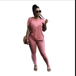 $enCountryForm.capitalKeyWord UK - Womens sportswear short sleeve outfits 2 piece set new hot selling tracksuit jogging sportsuit sweatshit tights sport suit klw30