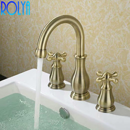 Vintage brass handles online shopping - Rolya Bronze Bathroom Sink Faucet Dual Cross Handles Vintage Deck Mounting Solid Copper Basin Mixer Tap Set