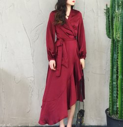 $enCountryForm.capitalKeyWord Australia - 2019 Spring Women Dresses Long Sleeve Party Wrap Dress Vintage Asymmetrical Solid V Neck Burgundy Satin Silk Maxi Sashes Dress
