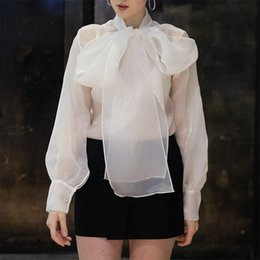 Hollowed Lace Big Lapel Shirt Loose Slim Lamp Korean Sweet Lace