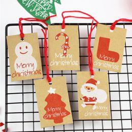 $enCountryForm.capitalKeyWord Australia - 50PCS Christmas Tags Santa Claus Snowflake Paper Tag Wrap Kraft Card Christmas Tree Decoration DIY Candy Gift Bag Label