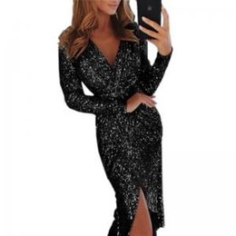 Wholesale Womens Sequins V Neck Sexy dress Long Sleeve sparkly Evening Split Wrap Shiny Long Dress Fashion Slim Club Sexy Party colthes TTA158