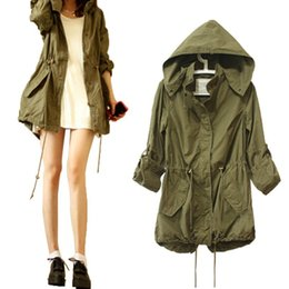 military green women s coat UK - Women Hoody Coat Spring Autumn Army Green Military Parka Trench Hooded Jacket