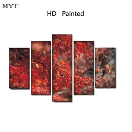Canvas Print Images NZ - Hot sale Red maple leaf scenery unframed HD Printed Paintings Spraying image on Canvas Wall Art pictures 5 pieces For living room Home Decor