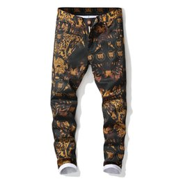 High Quality Men's Leopard Printed Jeans Trendy Colored Drawing Slim Fit Straight Denim Pants Streetwear Ripped Jeans for Men