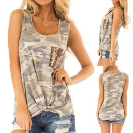 camouflage print blouse 2019 - New Arrival 2019 Womens Fashion Sleeveless Sequin Pocket Front Knot Camouflage Print Tank Top Female Clothes blouse wome