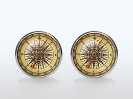 $enCountryForm.capitalKeyWord NZ - High Quality Vintage Compass French Shirt Cufflinks Silver Brand Glass Cuff Mens Groom Accessories Sleeve Button Man Woman