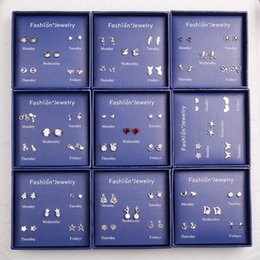 studs boxed Australia - Fashion S925 Silver A Week Earrings Gift Box Set for Women Girls Ear Studs Jewelry Party