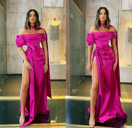 evening dress fuchsia Canada - Sexy Off Shoulder 2020 Satin Fuchsia Prom Dresses Short Sleeve Mermaid Special Occasion Evening Dress Side Split Formal Party Wear