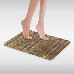 made board NZ - Print Flannel Bath Mat Gray Vintage Wooden Board Fashion Bedroom Kitchen Bathroom Bathtub Doorway Aisle Non-slip Rug Suede Carpet 40 X 60 cm