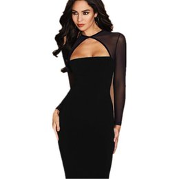 Crystal Stitching UK - good quality Women's 2019 Spring and Autumn Black Long-sleeved Sexy Perspective Mesh Stitching Fleece Dress Low-cut Knee-length Dress