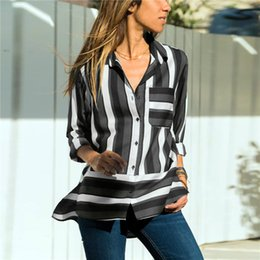 Plus Size Striped Blouse Australia - 2019 New Arrival Striped Blouse Shirt Women Casual Long Sleeve Office Ladies Tops Plus Size Blouse With Pocket Camisa Feminina