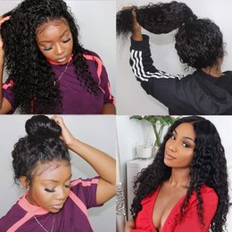 bleached natural hair 2019 - Glueless 360 Lace Wigs Brazilian Human Hair Wet and Wavy Deep Wave Pre-Plucked Hairline Bleached Knots Lace Front Wig wi