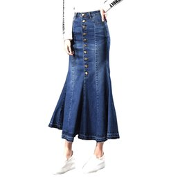 4c063df645e45 2018 Plus Size Autumn Retro Vintage Fashion Office Korean Button female  Mermaid fishtail ladies Sexy Long Maxi Jeans Denim Skirts womens