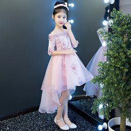 Wedding Dress Made Yarn Australia - Girl's birthday princess skirt Children's Piano dress Flower Children's Wedding dress Pengpong Yarn presenter's Roadshow Evening dress