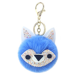 Artificial Chains Wholesalers UK - New animal fox fur ball key chain pendant artificial plush pendant lady bag car key accessories lovely small gifts.