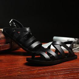 $enCountryForm.capitalKeyWord Australia - Hot Sale-Fashion Casual Solid Mens Roman Sandals Basic Flat Summer Shoes Buckle Strap Genuine Leather Men Beach Shoes