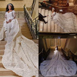 $enCountryForm.capitalKeyWord Australia - Luxury Mermaid Wedding Dresses With Detachable Train Long Sleeve Lace Appliques Beads Ruffle Chapel Bridal Gowns Arabic robe de mariée